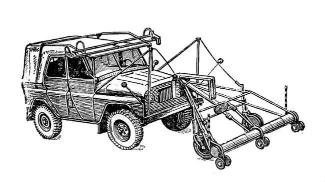 Схема навесной консоли УАЗ-469 для разминирования